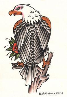 Standing Eagle Rick Walters Tattooed Bird Canvas Giclee Fine Art Print