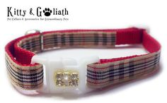 Cat Collar Tan Plaid with Rhinestones  Safety by KittyandGoliath, $10.95