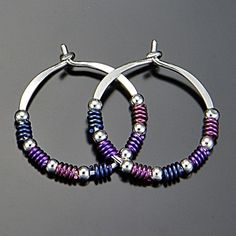 Small Rainbow Hoops in Sterling Sunrise Colors