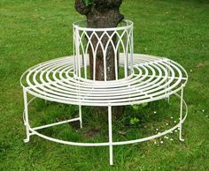 Trentino Steel Garden Tree Seat Cream Full Circular Metal Bench Furniture Circle