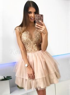 A-Line Crew Above-Knee Champagne Tiered Homecoming Dress with Lace – classygown Short Dresses, Prom Dresses, Formal Dresses, Champagne Homecoming Dresses, Pretty Black Girls, Mini Vestidos, Dress For You, Designer Dresses, Lace Dress