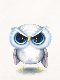 Items similar to Funny Angry Bird - Cute Animal with Attitude - Kawaii Baby Bird - Painting Print by Annya Kai on Etsy Bird Drawings, Animal Drawings, Drawing Animals, Drawing Art, Painting Prints, Canvas Prints, Art Prints, Owl Paintings, Chibi
