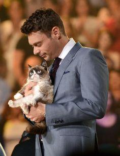 Ryan Seacrest with Grumpy Cat, American Idol, 2014