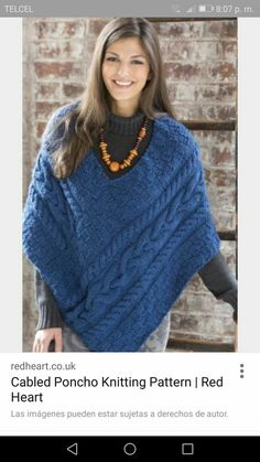 Zopf-Poncho Gratis Strickmuster ~incredible inspiration for crochet ~ Poncho Knitting Patterns, Knit Patterns, Knitted Poncho, Knitted Shawls, Knit Or Crochet, Crochet Shawl, Ladies Poncho, Clothes Crafts, Knitting Accessories
