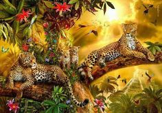 Jungle Jaguars Digital Art by Jan Patrik Krasny Paradise On Earth, Jehovah Paradise, New Earth, Wildlife Art, Animal Paintings, Big Cats, Belle Photo, Jaguar, Cute Animals