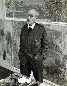 Pierre Bonnard in his atelier, Le Cannet, 1941 -by Étienne Ostier [+] from Musée Bonnard