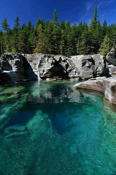 Saint Mary River, West Glacier Park, Montana.