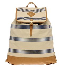 Striped canvas backpack- perfect for a day at the beach