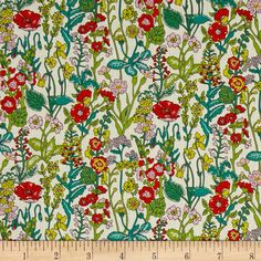 Liberty of London Flowers Lawn Cream/Multi from @fabricdotcom  From the world famous Liberty Of London, this exquisite cotton lawn fabric is finely woven, silky, very lightweight and ultra soft. This gorgeous fabric is oh so perfect for flirty blouses, dresses, lingerie, even quilting. Colors include cream, shades of green, orange, and purple.