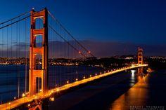 "Very nice.....""Golden Gate Bridge Sunrise 1"" - Photograph of San Francisco's famous Golden Gate Bridge at sunrise. San Francisco can be seen in the distance."