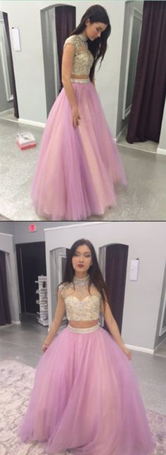 Two Pieces Beading Tulle Long Prom Dress,Evening Dress,Prom Dresses
