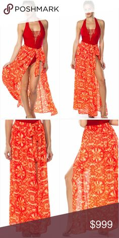 "💥JUST IN SWIMSUIT COVER UP MAXI Maxi skirt/cover up Coral colored Made in the USA There are two sizes available: Small/Medium & Medium/Large Self tie, wrap around, printed, see through 100% polyester S/M length 42"", waist 24"" Length of straps 30"" Such a beautiful color!!! Tasha Swim Coverups"
