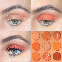 Cute Eyeshadow Looks, Orange Eyeshadow Looks, Orange Eyeshadow Palette, Day Eye Makeup, Makeup Eye Looks, Diy Makeup, Makeup Inspo, Colourpop Eyeshadow, Eyeshadow Makeup
