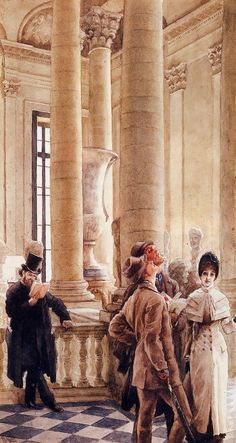 'At the Louvre' by James Tissot, (1879-80) France.  Also called 'Foreign Visitors at the Louvre'