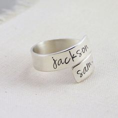 Mommy Ring, Kids Name Ring, Custom Mom Ring, Sterling Silver Wrap Ring, Hand Stamped Jewelry, Mothers Day Gift, Couples Names Ring by RememberMyAngel on Etsy https://www.etsy.com/listing/227767659/mommy-ring-kids-name-ring-custom-mom
