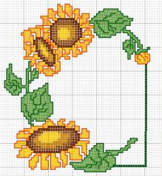Artesanato em crochê e ponto cruz: Gráfico de pano de bandeja de girassóis em ponto c...
