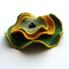 Harris Tweed wool brooch , tweed pin , green brooch , made in Scotland , Scottish gift