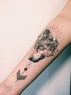 Wolf Geometric Arrow Tattoo
