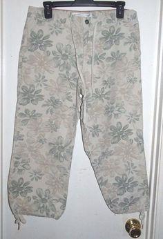 Tommy Hilfiger Beige Green Floral Drawstring Waist Legs Capri Cropped Pants 4…