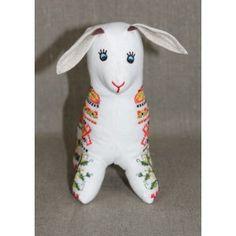 "Козенятко ""Нюра"" біленьке Ukraine, Dinosaur Stuffed Animal, Embroidery, Toys, Animals, Activity Toys, Needlepoint, Animales, Animaux"