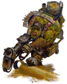 Warhammer Ork Art - by Karl Kopinski Warhammer 40k Tabletop, Warhammer 40k Necrons, Warhammer 40k Space Wolves, Orks 40k, Warhammer 40k Figures, Warhammer 40k Miniatures, Warhammer Fantasy, Character Art, Character Design