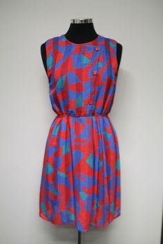 Red & Blue vintage dress | Bleecker Street Vintage & Homewares #bleeckerstreetvintage #vintage