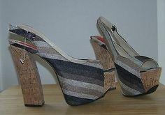 Women-Platform-Heels-Open-Toe-Slingback-FRH-Retro-Stripe-Cork-Heel-Size-7-5