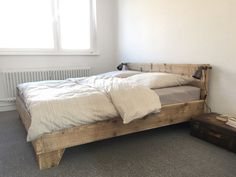 Upcycling Trend: Bett aus Holz im Vintage Look für Dein Schlafzimmer / upcycling trend: wooden bed in vintage look for you bed room made by nonconform via DaWanda.com