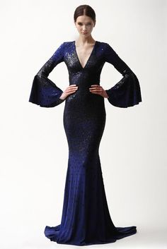 THIS. Naeem Khan pre-fall 2015 dress with flared sleeves and gorgeous navy blue colour.