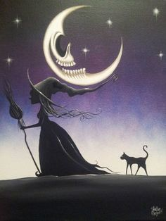 ☆ A Primitive witch walks under a Malevolent Moon with her Friendly Feline Friend. The Witches hat is blown out and stretched from the heavy wind as her hair trails behind her with every step. Star Bursts on a lovely Shaded  Purple Sky. The Malevolent moon smiles Showing off those big Ol Teeth of his! By Artist Heather Gleason ☆