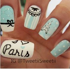 Paris nails, would change it up but I love Paris Nail Art, Paris Nails, Get Nails, Love Nails, How To Do Nails, Fabulous Nails, Gorgeous Nails, Pretty Nails, Color Menta