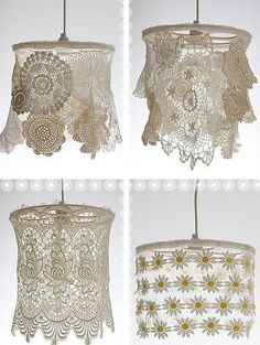 Light shades made from doilies! Neat!    dishfunctionaldesigns.blogspot.com/