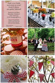 "gingham works so well for a ""rustic"" wedding is because it mixes in a bit of a country feel without going over the top. Gingham comes in so many different colors- you can have a black and white gingham or a yellow and white or go for the traditional red and white."