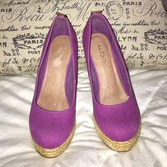 PURPLE CANVAS ALDO SHOES HIGH WEDGE PURPLE PLATFORM  CANVAS SLIP ON HEELS.  Awesome Purple!!!  Great Paired With Distressed Jeans or Paired With a Classy  Cute Dress.  YOU MAKE THE CHOICE!!! ALDO Shoes Platforms