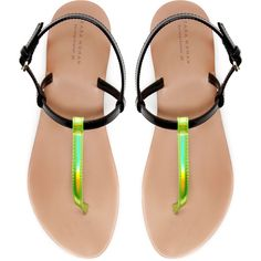 Zara Strappy Thong Sandal (990 RUB) ❤ liked on Polyvore featuring shoes, sandals, flats, zara, sapatos, multicolour, t-strap flats, strap sandals, toe thongs and flats sandals