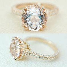 Love this  3.70 ct. morganite and diamond engagement ring will sweep her off her feet. Bright and beautiful center stone is eye clean. Simple rose