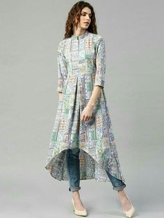 Buy Libas Multicoloured Polyester Printed High-Low Hem A-Line Kurta online in India at best price. Multicoloured printed A-line kurta, has a mandarin collar, three-quarter sleeves, curved high-low he Simple Kurti Designs, Kurti Neck Designs, Kurta Designs Women, Kurti Designs Party Wear, Stylish Dress Designs, Designs For Dresses, Stylish Dresses, Stylish Kurtis, High Neck Kurti Design