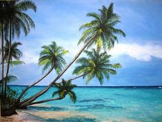 Palm Tree Paradise - Original Acrylic Painting - 18X24. $68.00, via Etsy.