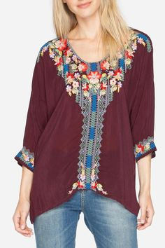 """We're not quite sure what we love the most about the Johnny Was ROSA BLOUSE! The deep Merlot hue that's a fall must-have or the contrasting, intricate embroidery down the front and the cuffs. Its a bohemian dream! Pair this with your favorite skinny denim jeans, boots or sandals. It's a year around wardrobe staple.    Size Medium Length: 29""""   Johnny Was Rosa Top  by Johnny Was Collection. Clothing - Tops - Long Sleeve Minnesota"""