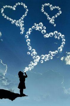 Yoy will never regret time spent blowing bubbles. All Heart, I Love Heart, Happy Heart, Heart Art, Cellphone Wallpaper, Mobile Wallpaper, Heart Bubbles, Soap Bubbles, Blowing Bubbles