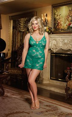 No plus size woman should be without a seductive lace chemise in her lingerie chest!  Just slip this little lace number over your head and you can transform from ordinary to amorous, in moments!The st