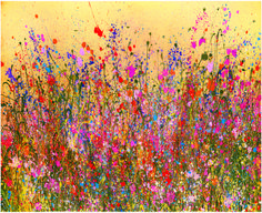 'Tangerine Dreams' by flower artist Yvonne Coomber. Very bright, colorful and happy! So much energy in this densely textured field of blooms against a gold sky. A lovely abstract painting inspired by nature. Flower Artists, Abstract Art, Abstract Landscape, Fine Art Prints, Drawing, Artwork, Painting, Sky Full, Art Online