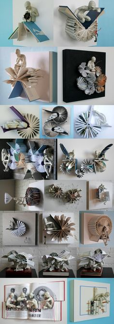 Artist Daniel Lai a.a Kenjio, used a captivating paper folding technique. Artist Daniel Lai a.a Kenjio, used a captivating paper folding technique. Folded Book Art, Paper Book, Book Folding, Origami Paper, Diy Paper, Paper Art, Paper Crafts, Altered Books, Altered Art