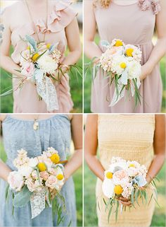 pastel bridesmaid dresses and natural bouquets - i like the mismatched relaxed quality about these! Pastel Bridesmaid Dresses, Wedding Bridesmaids, Wedding Bouquets, Wedding Flowers, Wedding Pastel, Bridesmaid Bouquets, Wedding Favors, Wedding Dresses, Bridesmaid Inspiration