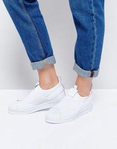 9275143fc6a adidas Originals White Superstar Slip On Trainers