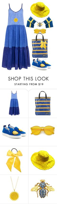 """""""Blue & Yellow for Sweden,June 6th"""" by ragnh-mjos ❤ liked on Polyvore featuring M.i.h Jeans, FREITAG, Joshua's, L. Erickson and Dogeared"""