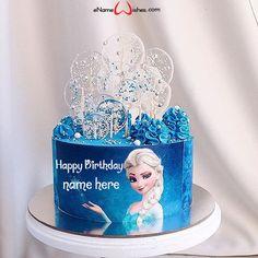Frozen Birthday Cake with Name - eNameWishes Birthday Cake Write Name, Elsa Birthday Cake, Frozen Themed Birthday Cake, Birthday Cake Writing, Birthday Wishes Cake, Cake Name, Happy Birthday Cakes, Themed Cakes, Geek Birthday