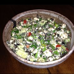Greek Salsa Dip 8 oz crumbled feta 1 tomato (chopped) 1 cucumber (peeled and chopped) 2 oz can chopped black olives 1/4 cup fresh parsley (minced) 3 green onions (chopped) 1/3 cup olive oil 2 tsp oregano 2 tsp dill Juice of half a lemon. Stir together and chill.