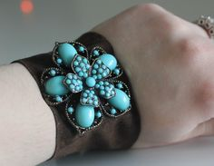 turquoise and suede bracelet! http://www.bonanza.com/booths/lethalglam