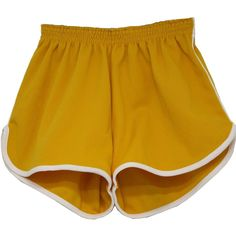 1970's Shorts (Size Label): 70s -Size Label- Unisex golden yellow with... ($19) ❤ liked on Polyvore featuring shorts, bottoms, pants, short, stripe shorts, short shorts, striped shorts, sport shorts and flat-front shorts